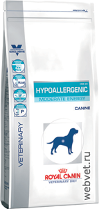 Royal Canin hypoallergenic moderate energy собаки